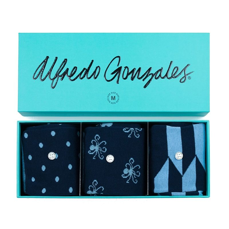 Afbeelding van Alfredo Gonzales sokken blue 3 pack giftbox unisex
