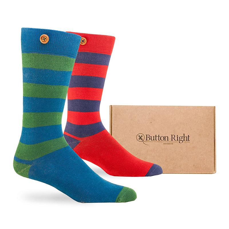 Afbeelding van Button Right sokken rugby box 2 pack heren