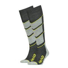 ski v-shape kneehigh II 2-pack grijs & geel