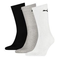 sportsokken 3-pack zwart, grijs & wit