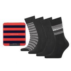 giftbox 4-pack tin stripe zwart