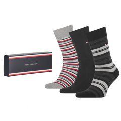 tommy logo giftbox 3-pack zwart & grijs